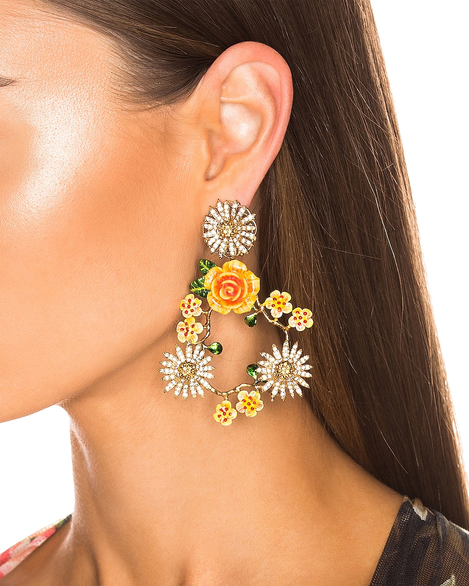 Image 2 of Dolce & Gabbana Floral Mix Earrings in Yellow