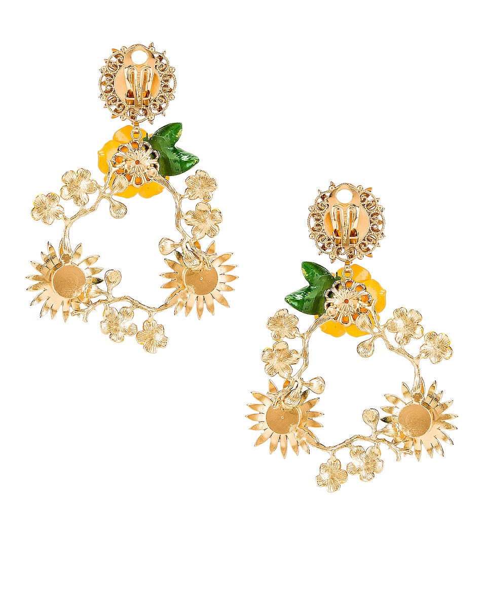 Image 4 of Dolce & Gabbana Floral Mix Earrings in Yellow
