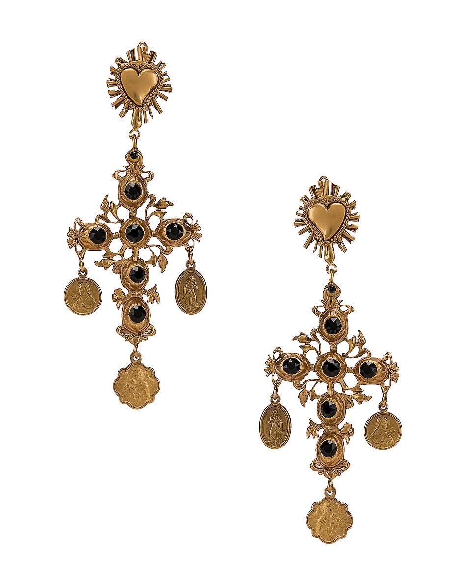Image 1 of Dolce & Gabbana Black Crystal Cross Drop Earrings in Black