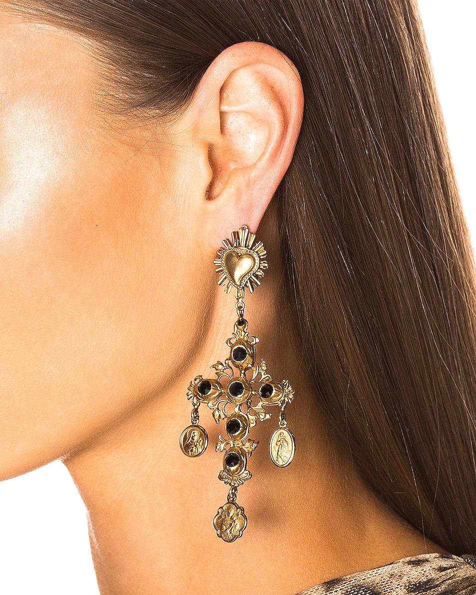 Image 2 of Dolce & Gabbana Black Crystal Cross Drop Earrings in Black
