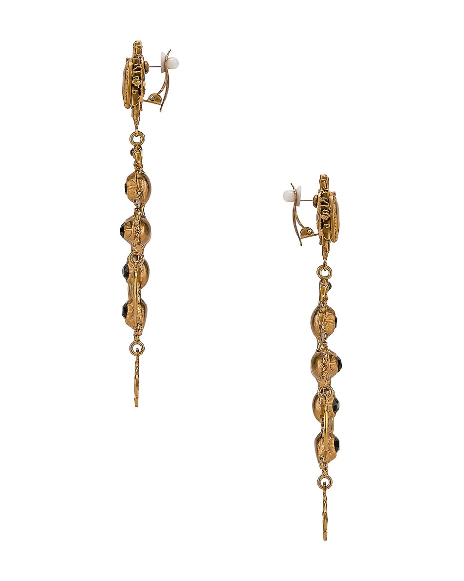 Image 3 of Dolce & Gabbana Black Crystal Cross Drop Earrings in Black