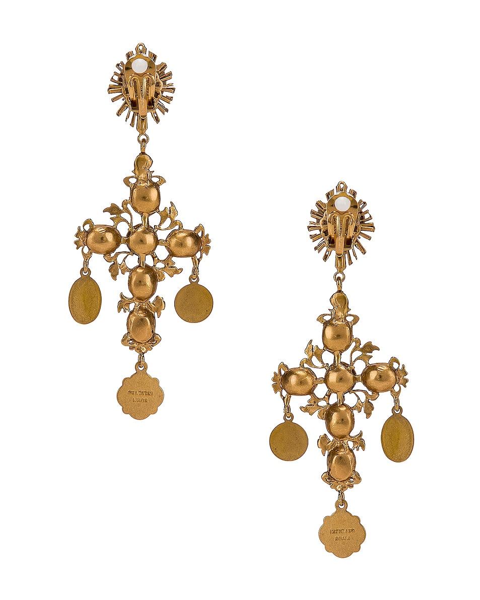 Image 4 of Dolce & Gabbana Black Crystal Cross Drop Earrings in Black