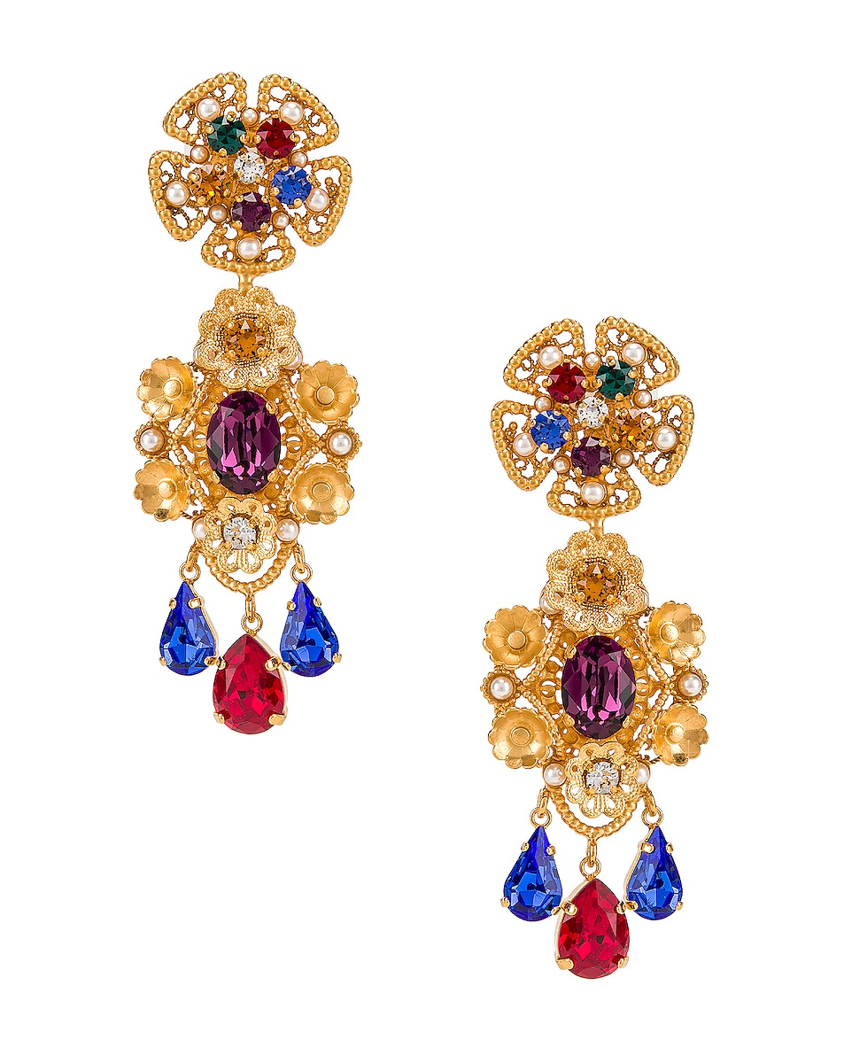 Image 1 of Dolce & Gabbana Flower Drop Earrings in Gold