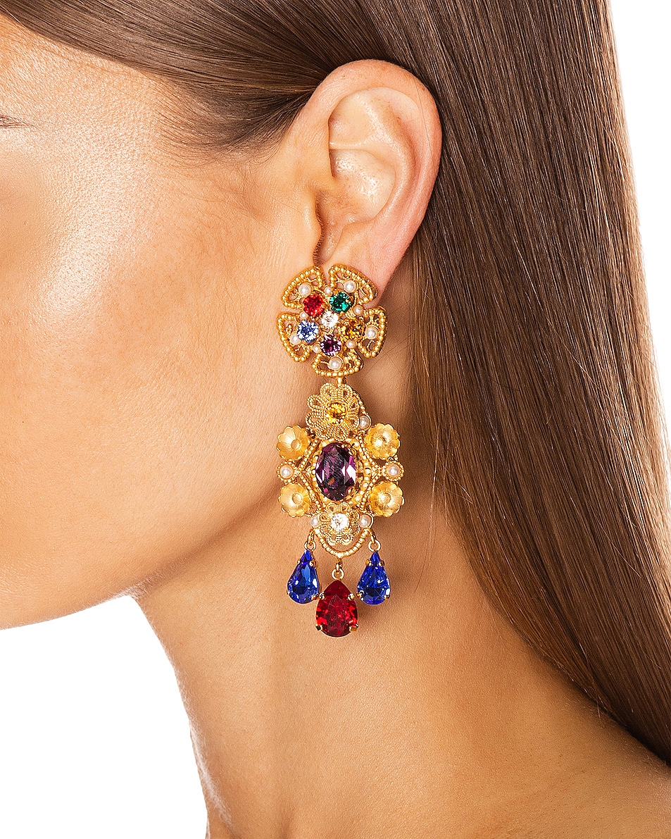 Image 2 of Dolce & Gabbana Flower Drop Earrings in Gold