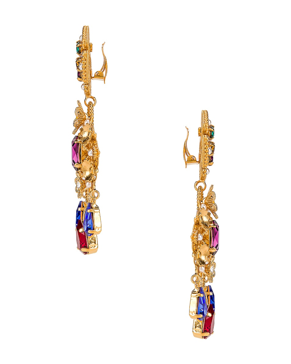 Image 3 of Dolce & Gabbana Flower Drop Earrings in Gold