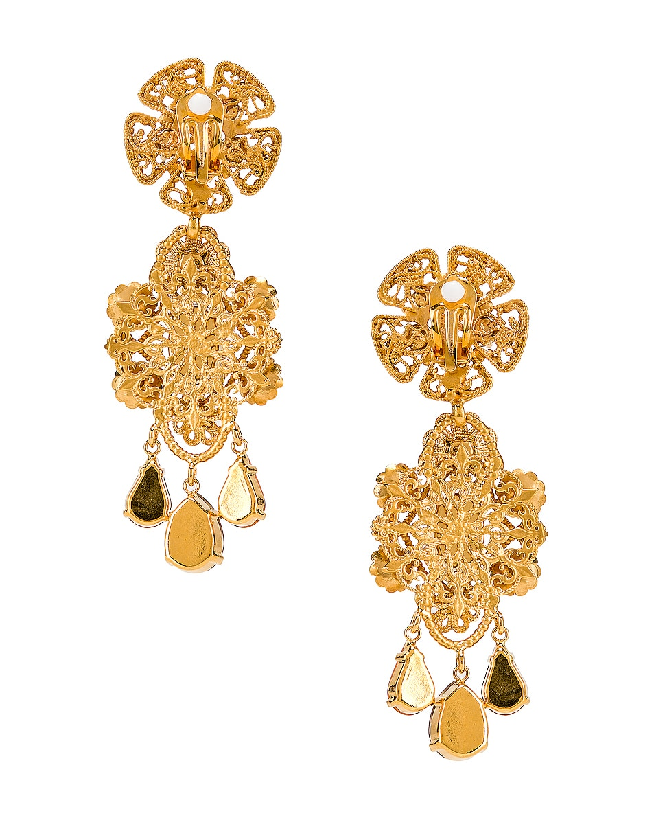 Image 4 of Dolce & Gabbana Flower Drop Earrings in Gold