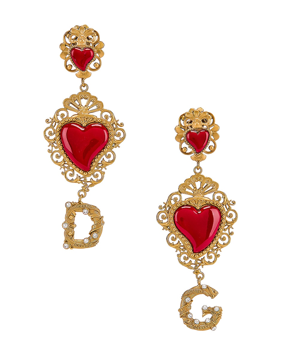 Image 1 of Dolce & Gabbana Double Hearts Logo Earrings in Red