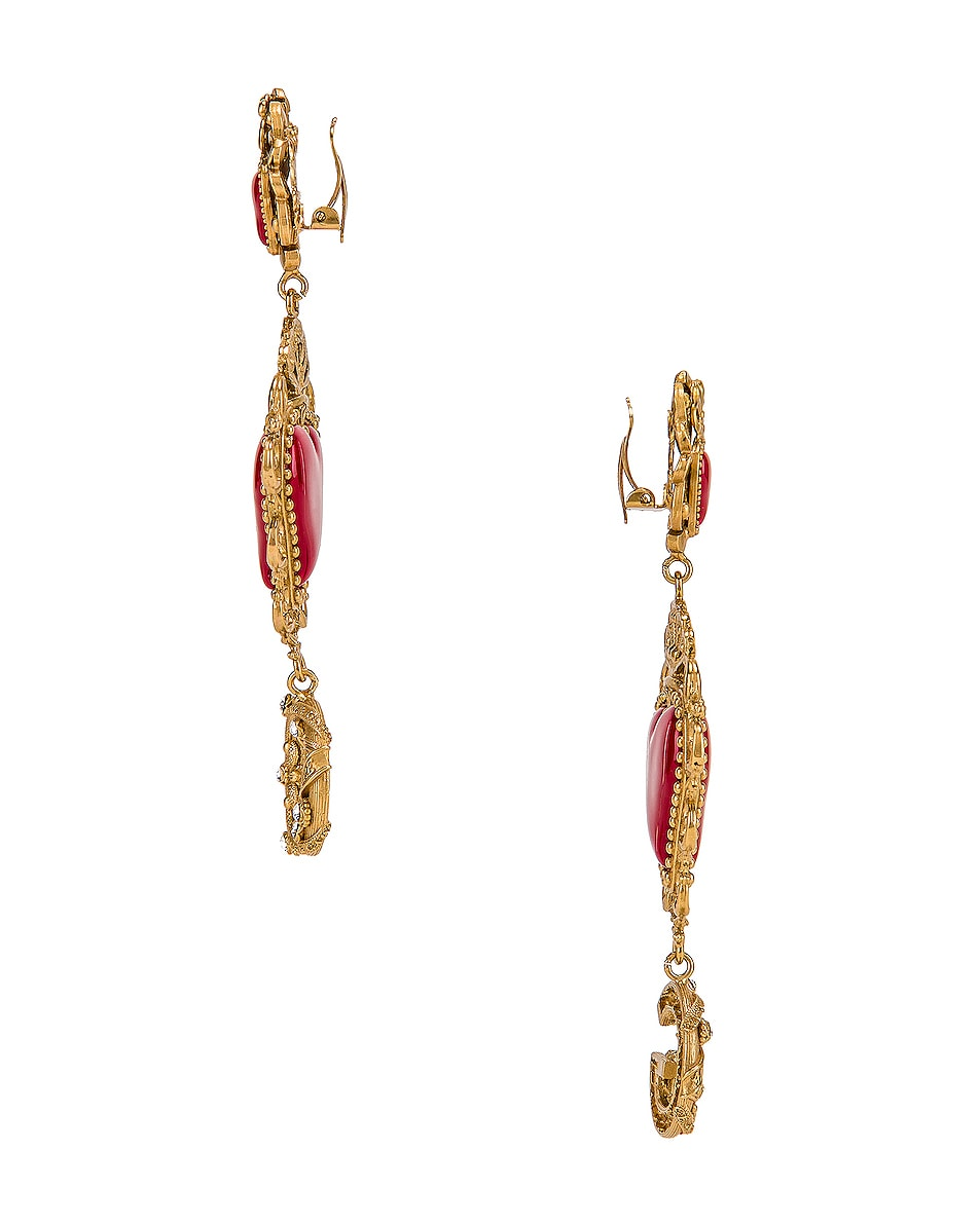 Image 3 of Dolce & Gabbana Double Hearts Logo Earrings in Red