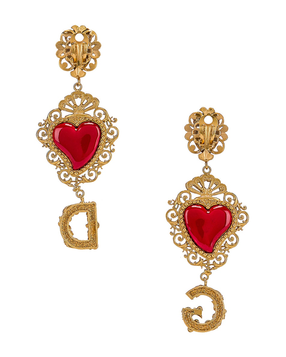 Image 4 of Dolce & Gabbana Double Hearts Logo Earrings in Red