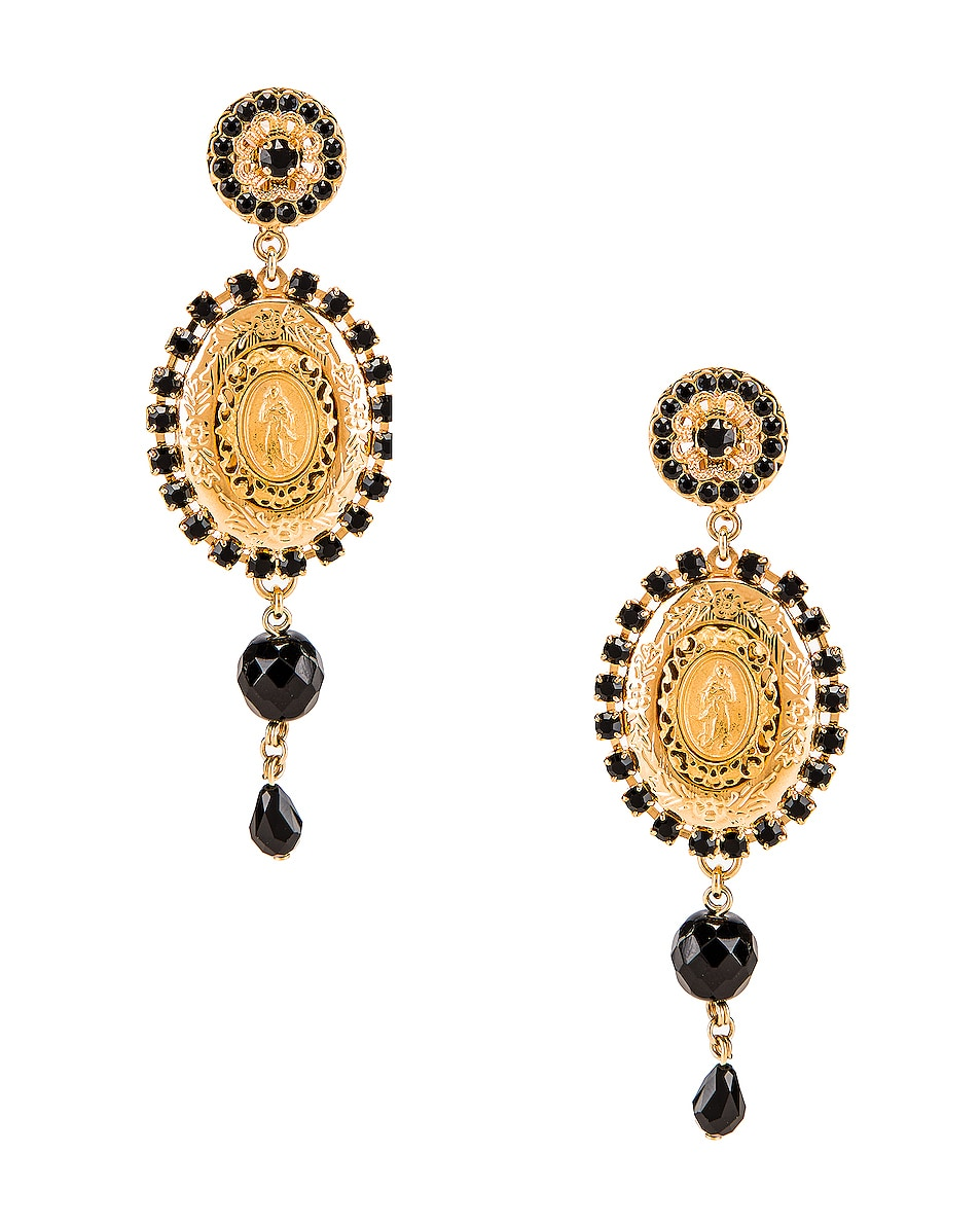 Image 1 of Dolce & Gabbana Medallion Drop Earrings in Black