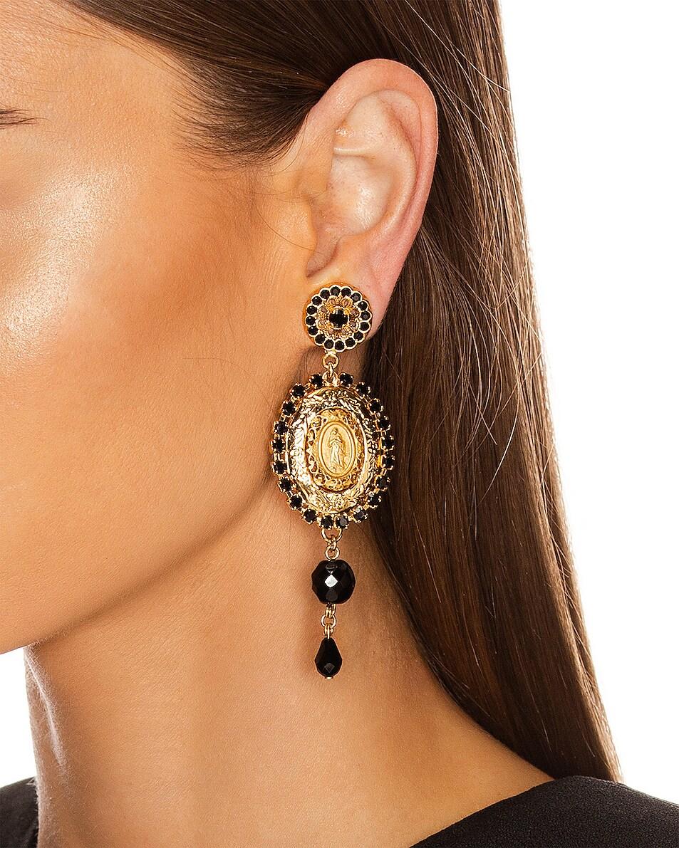 Image 2 of Dolce & Gabbana Medallion Drop Earrings in Black