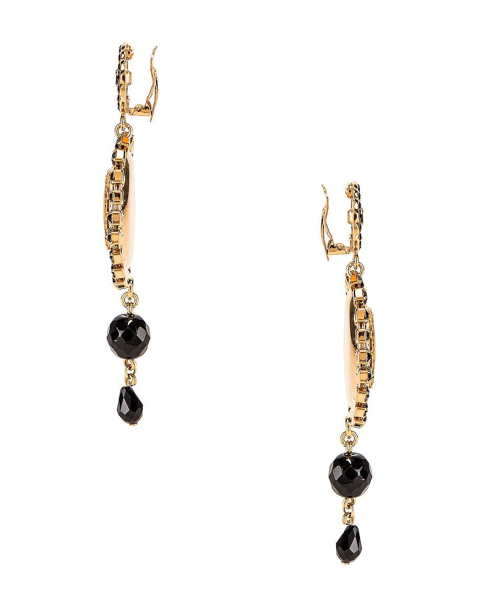 Image 3 of Dolce & Gabbana Medallion Drop Earrings in Black