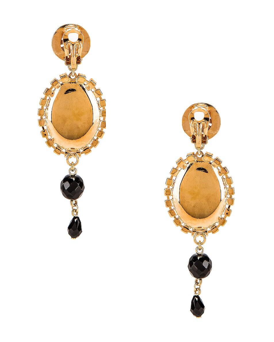 Image 4 of Dolce & Gabbana Medallion Drop Earrings in Black