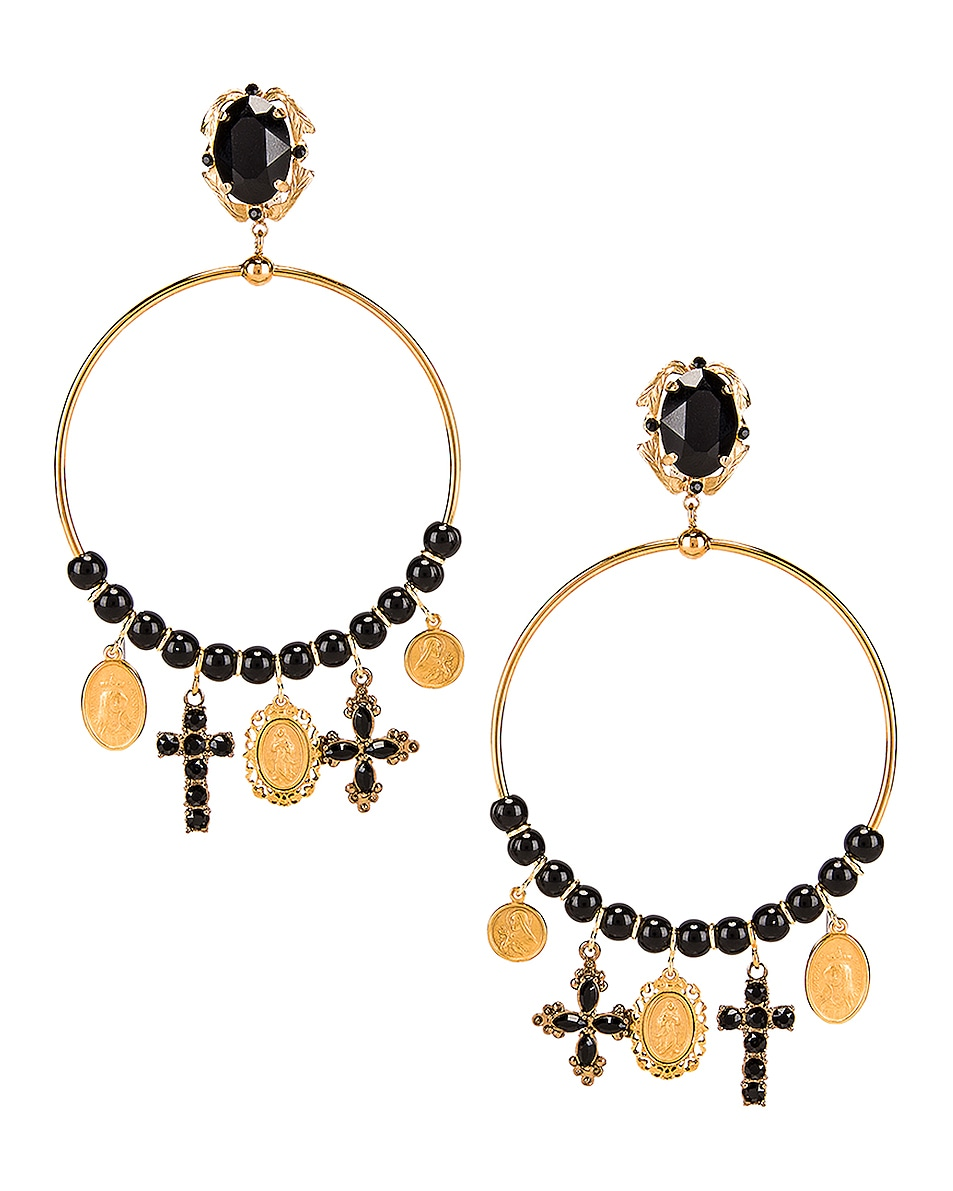 Image 1 of Dolce & Gabbana Cross Embellished Hoop Jewel Earrings in Black