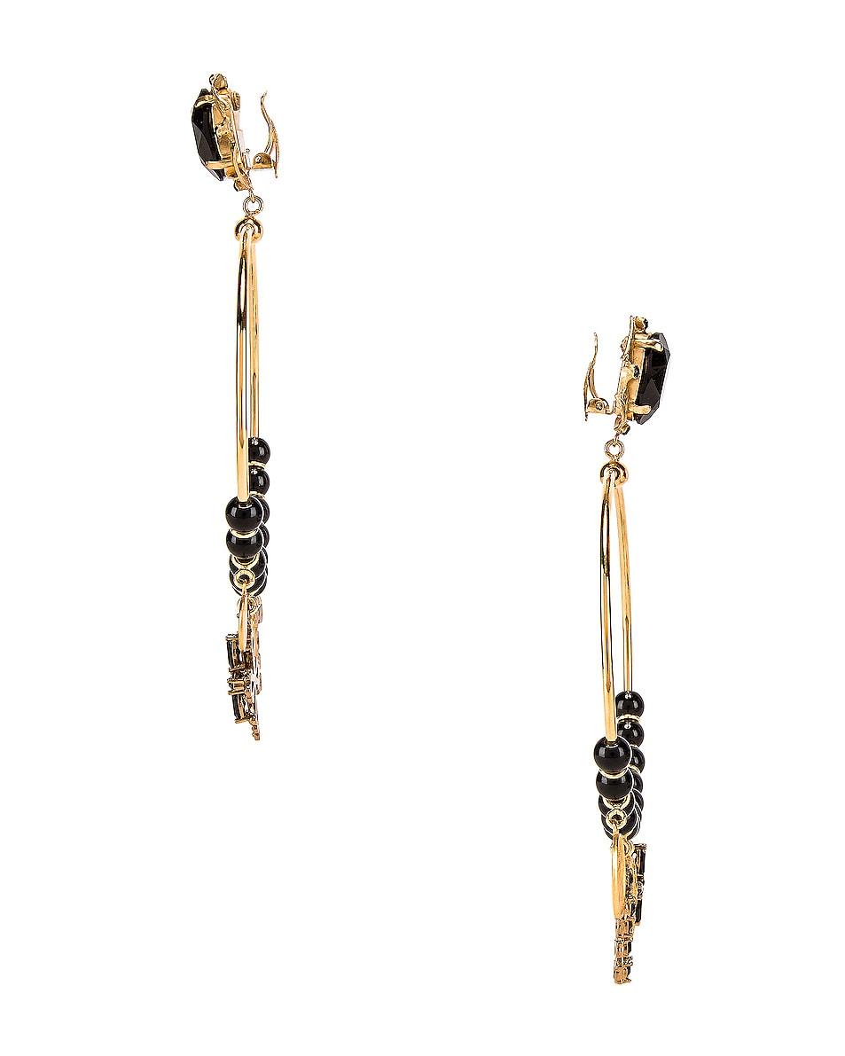 Image 3 of Dolce & Gabbana Cross Embellished Hoop Jewel Earrings in Black