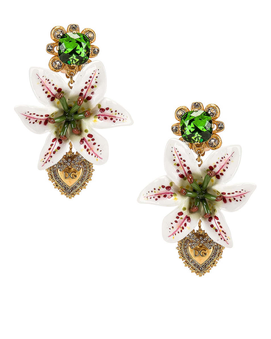 Image 1 of Dolce & Gabbana Crystal Lily Embellished DG Heart Earrings in White & Gold