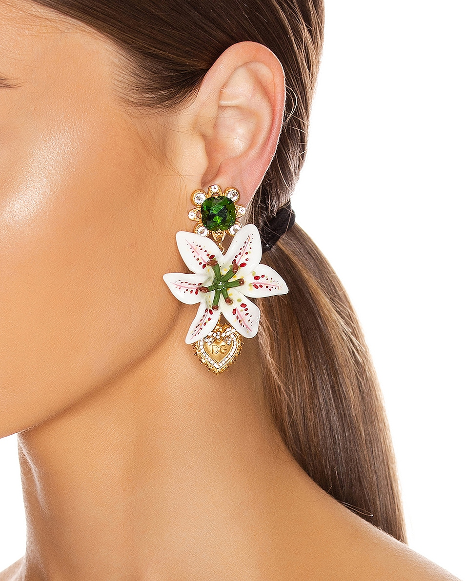 Image 2 of Dolce & Gabbana Crystal Lily Embellished DG Heart Earrings in White & Gold