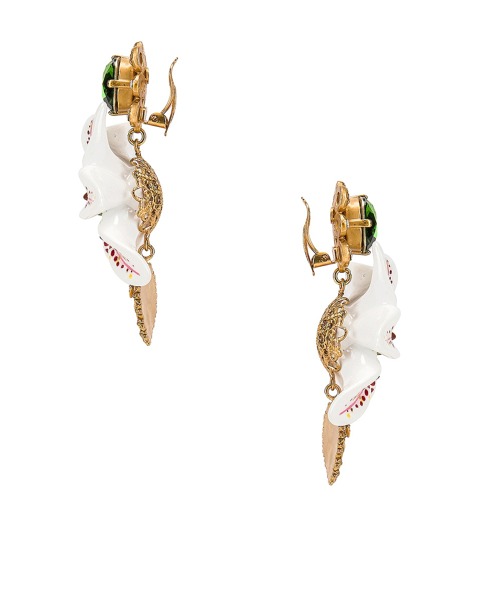 Image 3 of Dolce & Gabbana Crystal Lily Embellished DG Heart Earrings in White & Gold
