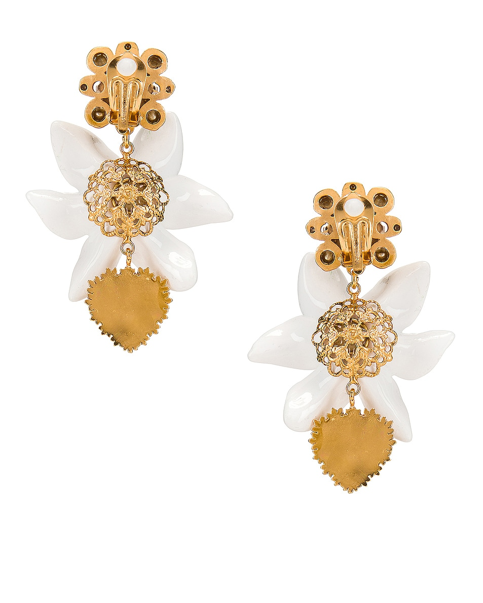 Image 4 of Dolce & Gabbana Crystal Lily Embellished DG Heart Earrings in White & Gold