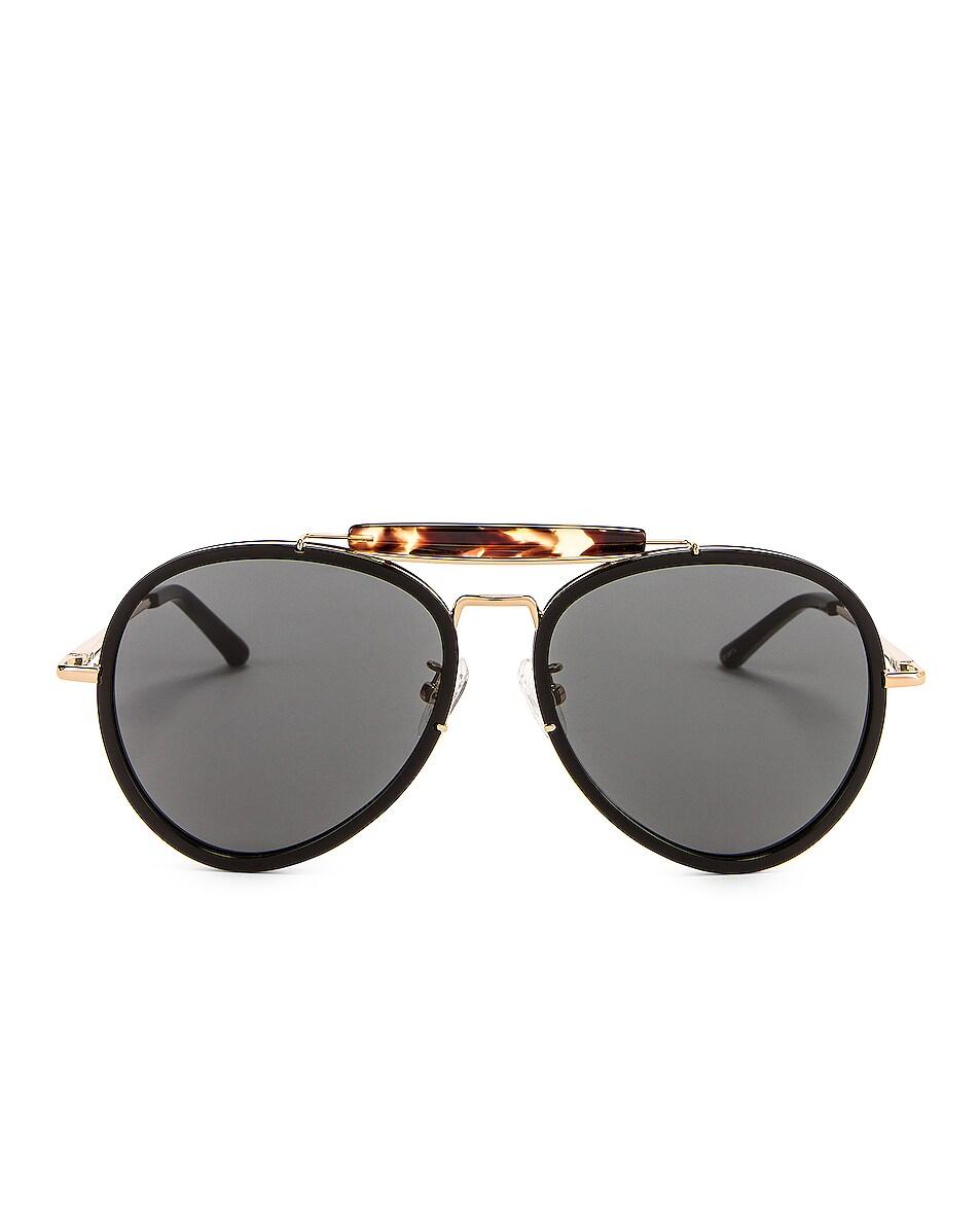Image 1 of Dries Van Noten Aviator Sunglasses in Black & Tortoise