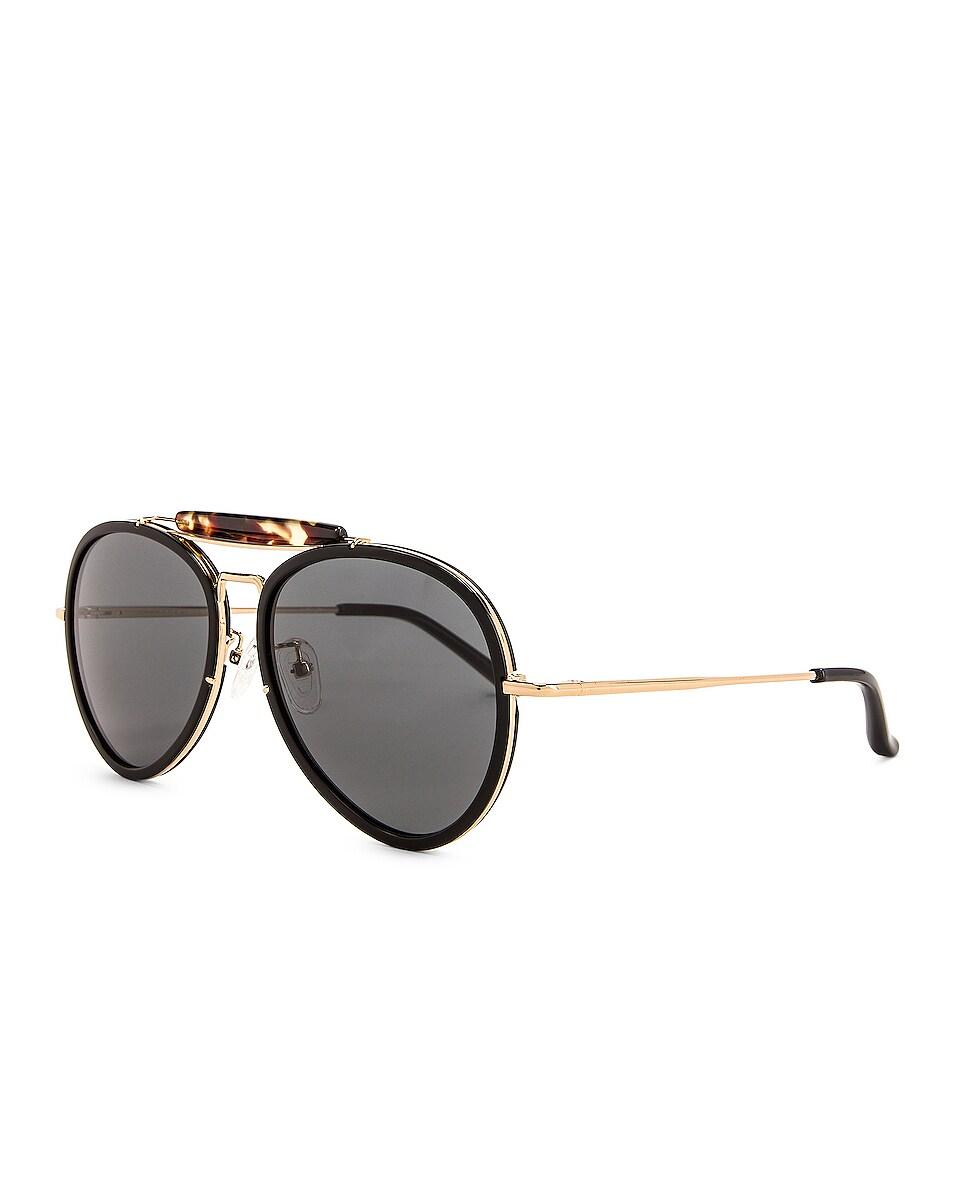 Image 2 of Dries Van Noten Aviator Sunglasses in Black & Tortoise