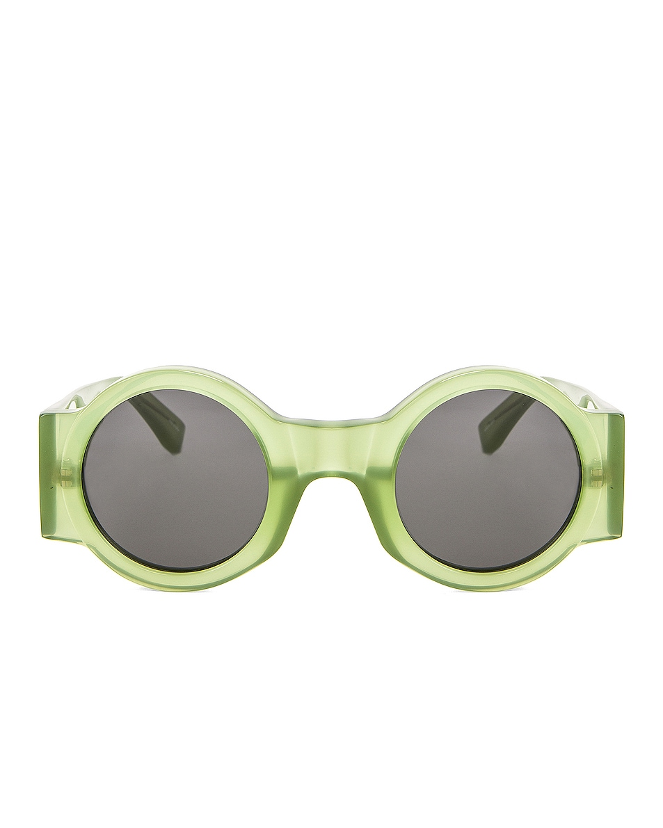 Image 1 of Dries Van Noten Round Thick Sunglasses in Green & Silver