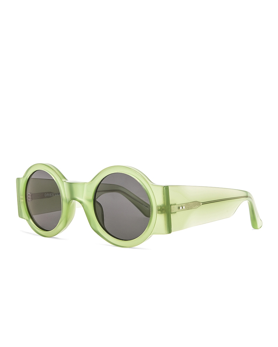 Image 2 of Dries Van Noten Round Thick Sunglasses in Green & Silver