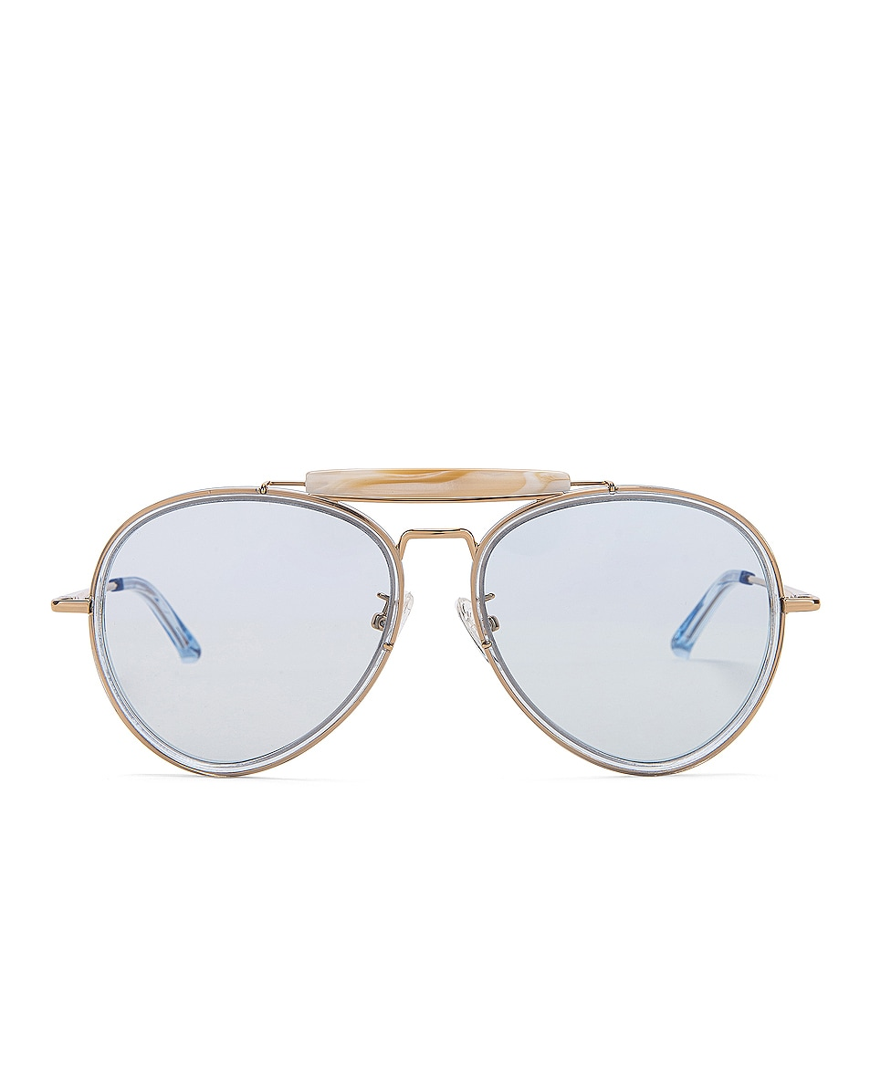 Image 1 of Dries Van Noten Metal Aviator Sunglasses in Pale Blue & Gold