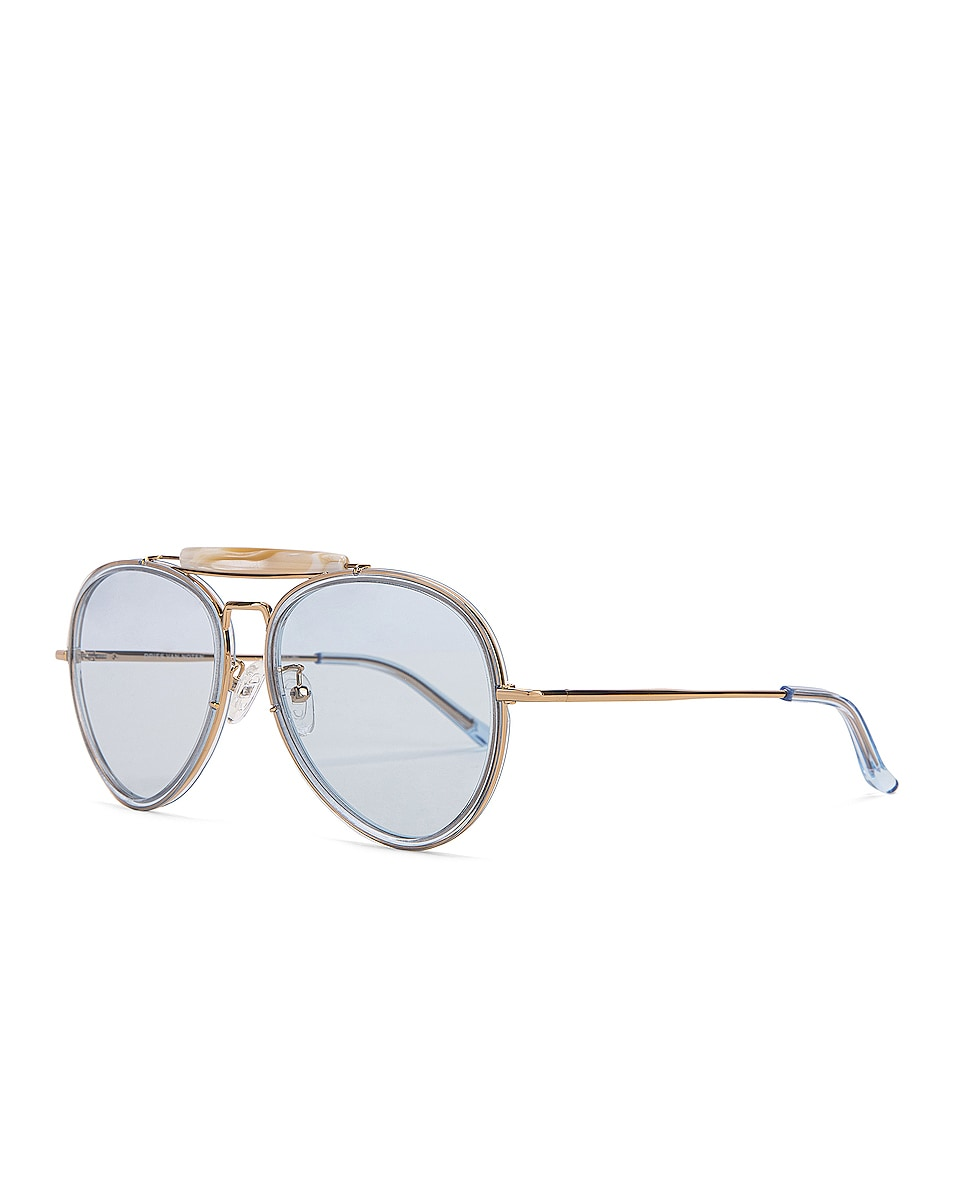 Image 2 of Dries Van Noten Metal Aviator Sunglasses in Pale Blue & Gold