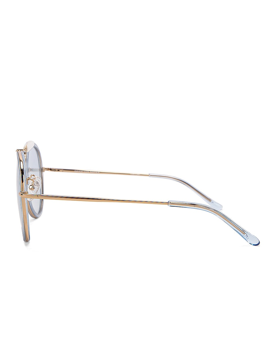 Image 3 of Dries Van Noten Metal Aviator Sunglasses in Pale Blue & Gold