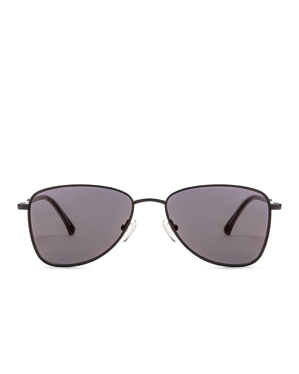 Image 1 of Dries Van Noten Small Metal Aviator Sunglasses in Black & Grey