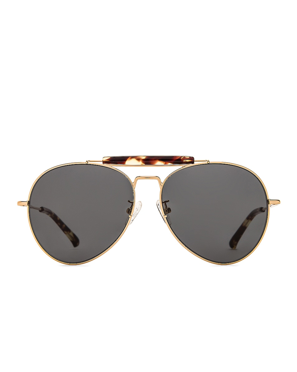Image 1 of Dries Van Noten Aviator Sunglasses in Yellow Gold & Grey