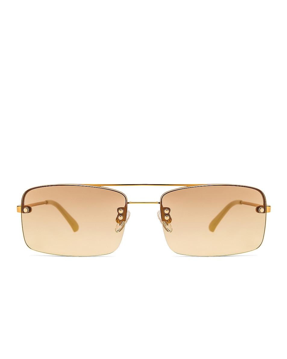 Image 1 of Dries Van Noten Rectangular Sunglasses in Gold & Beige