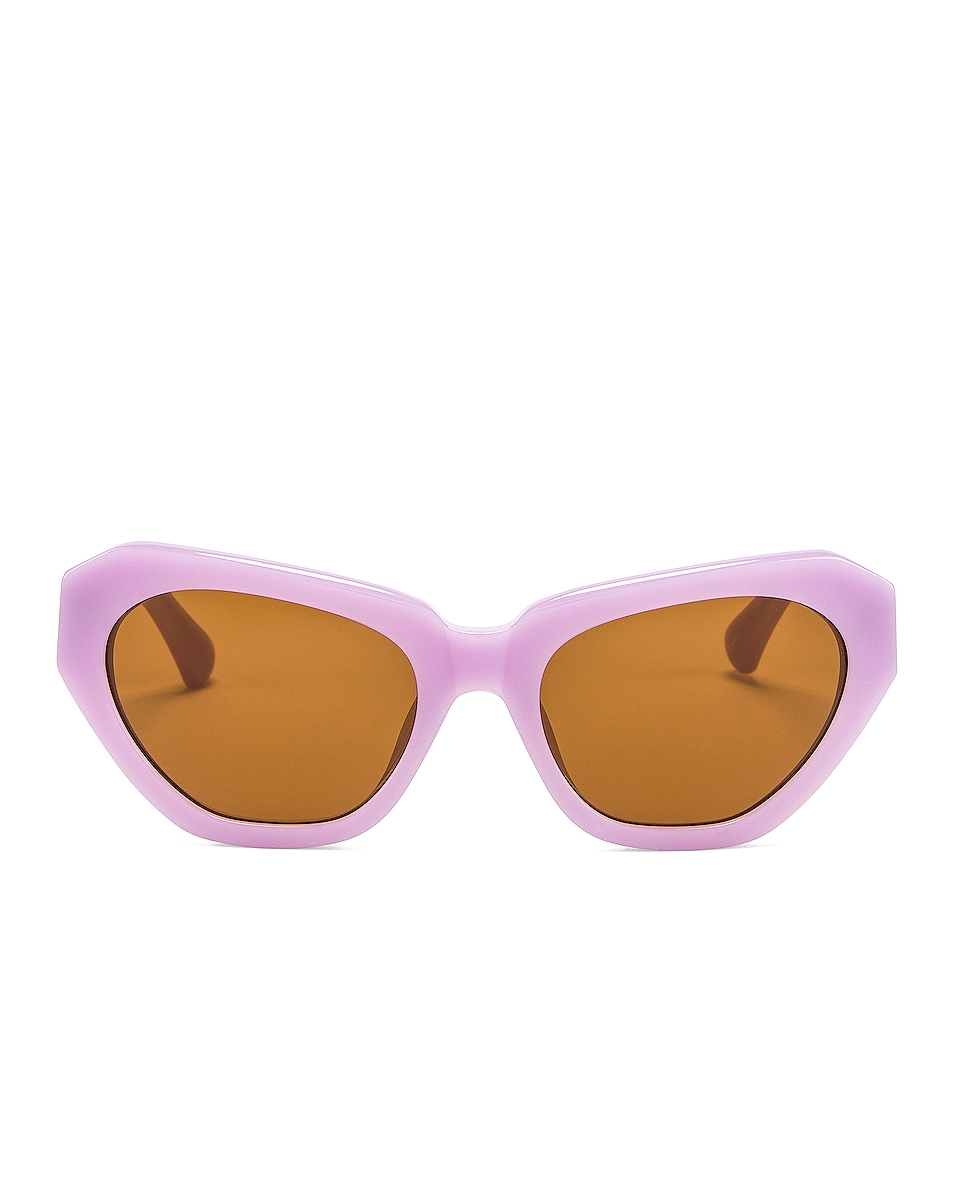 Image 1 of Dries Van Noten Cateye Sunglasses in Lilac, Silver & Brown
