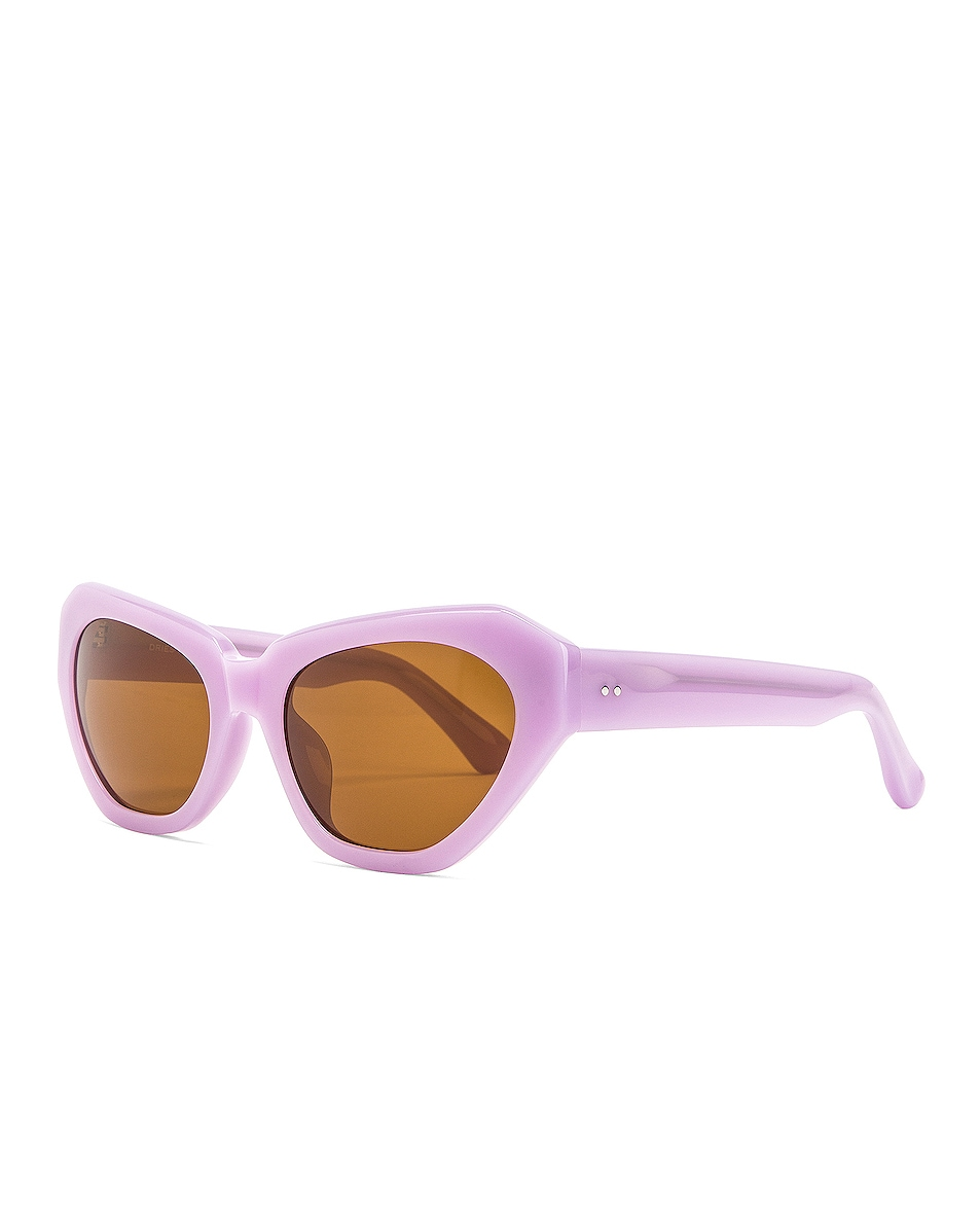 Image 2 of Dries Van Noten Cateye Sunglasses in Lilac, Silver & Brown