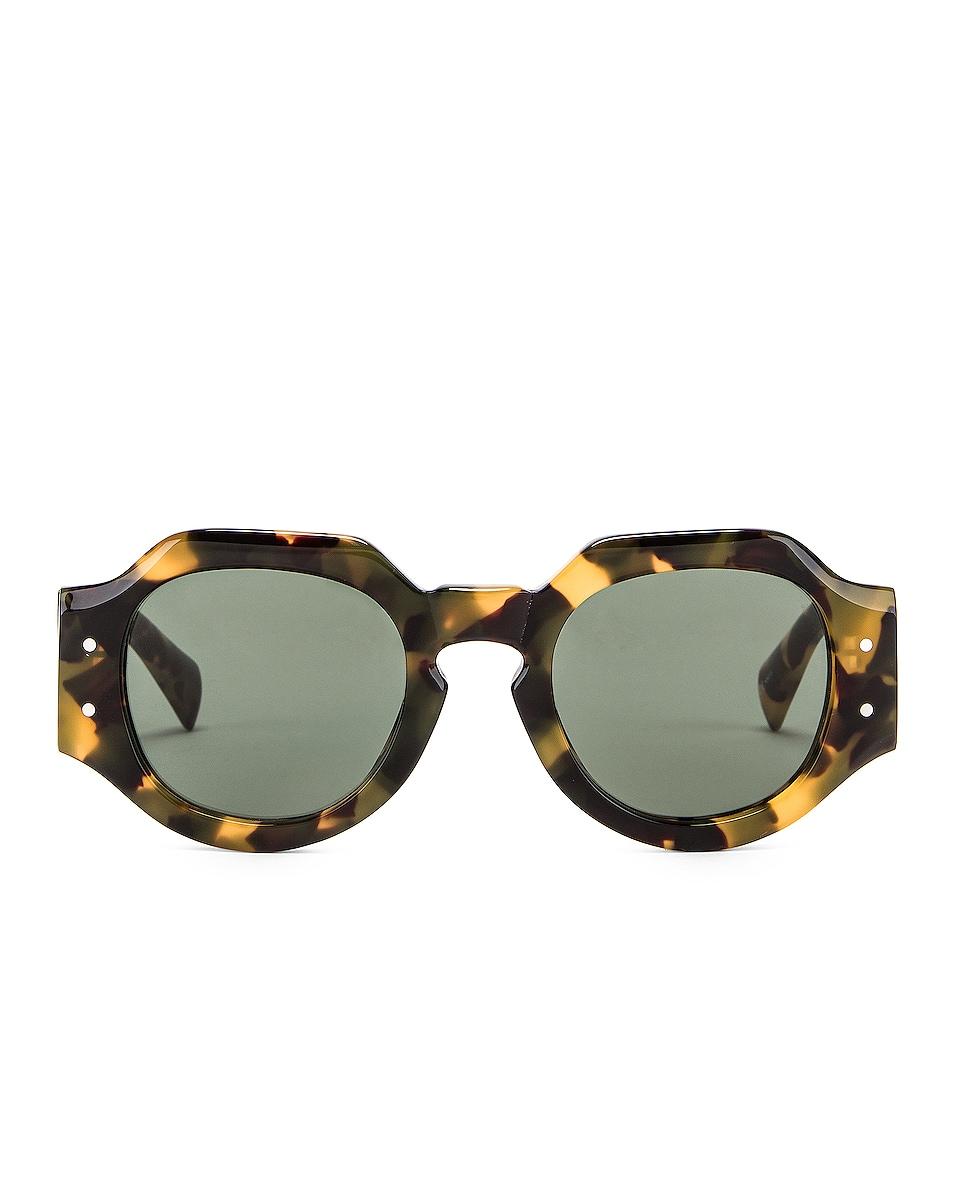 Image 1 of Dries Van Noten Oversized Sunglasses in Tortoise Shell, Matte Gold & Green