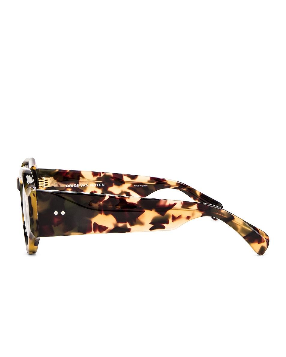 Image 3 of Dries Van Noten Oversized Sunglasses in Tortoise Shell, Matte Gold & Green
