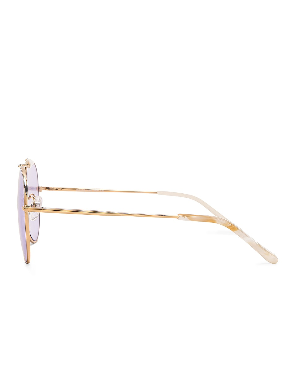 Image 3 of Dries Van Noten Aviator Sunglasses in Yellow Gold, Horn & Lilac