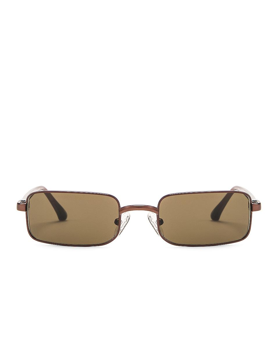 Image 1 of Dries Van Noten Small Rectangular Sunglasses in Matte Brown, Reddish Brown & Khaki