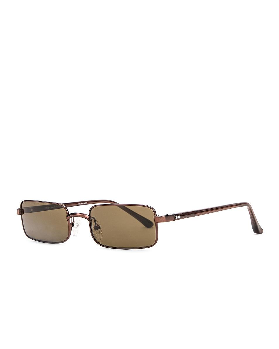 Image 2 of Dries Van Noten Small Rectangular Sunglasses in Matte Brown, Reddish Brown & Khaki