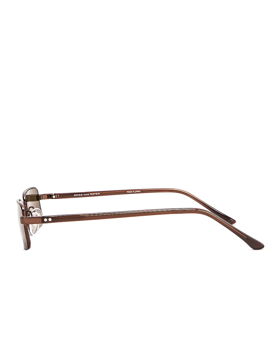 Image 3 of Dries Van Noten Small Rectangular Sunglasses in Matte Brown, Reddish Brown & Khaki