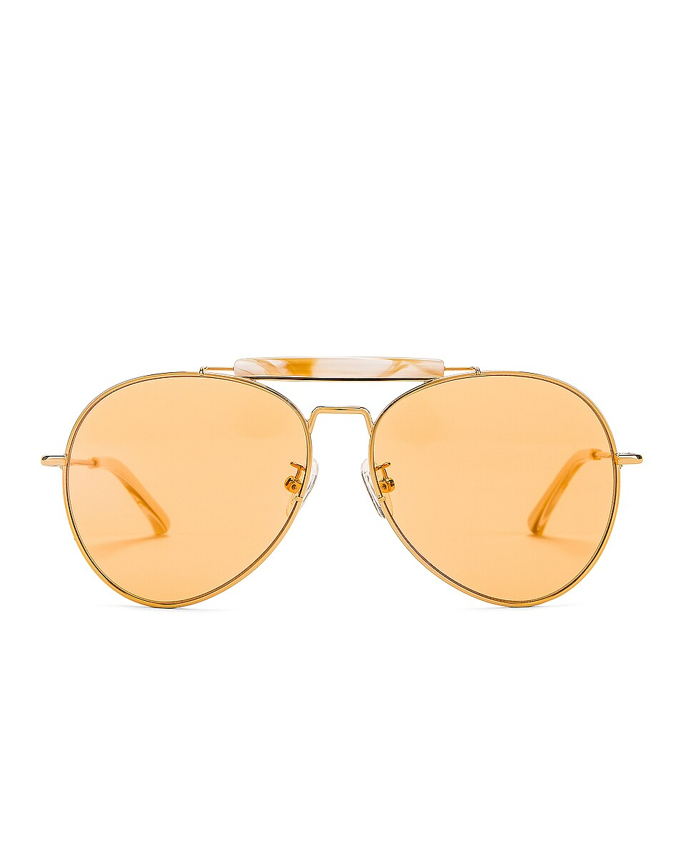 Image 1 of Dries Van Noten Aviator Sunglasses in Yellow Gold, Horn & Orange