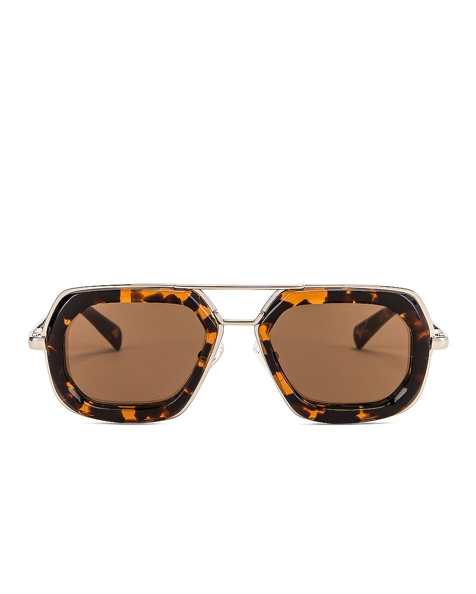 Image 1 of Dries Van Noten Rectangle Sunglasses in Silver & Rust Tortoise