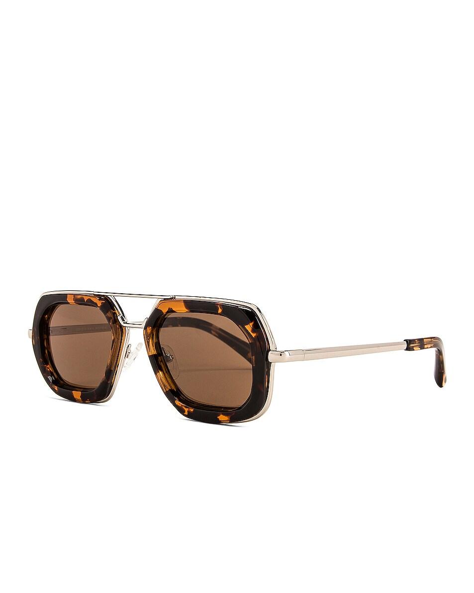 Image 2 of Dries Van Noten Rectangle Sunglasses in Silver & Rust Tortoise