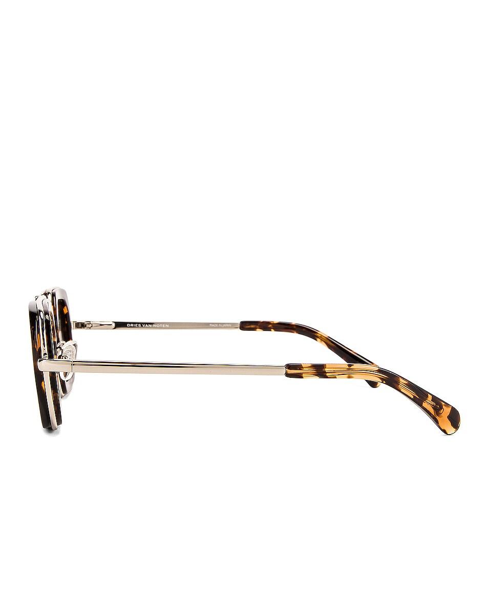 Image 3 of Dries Van Noten Rectangle Sunglasses in Silver & Rust Tortoise