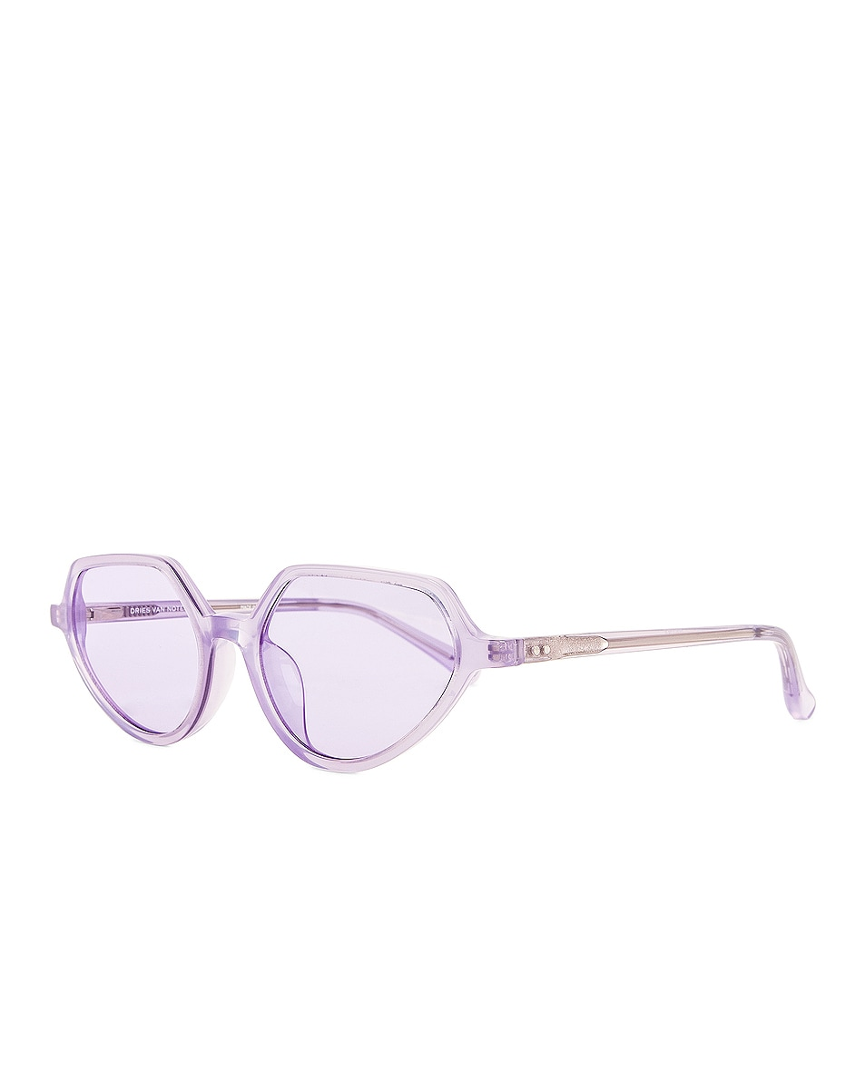 Image 2 of Dries Van Noten Angular Sunglasses in Lilac