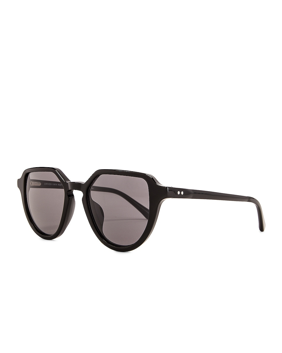 Image 2 of Dries Van Noten Square Round Sunglasses in Black & Silver