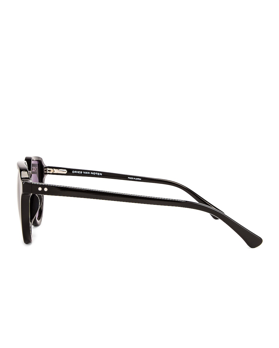 Image 3 of Dries Van Noten Square Round Sunglasses in Black & Silver