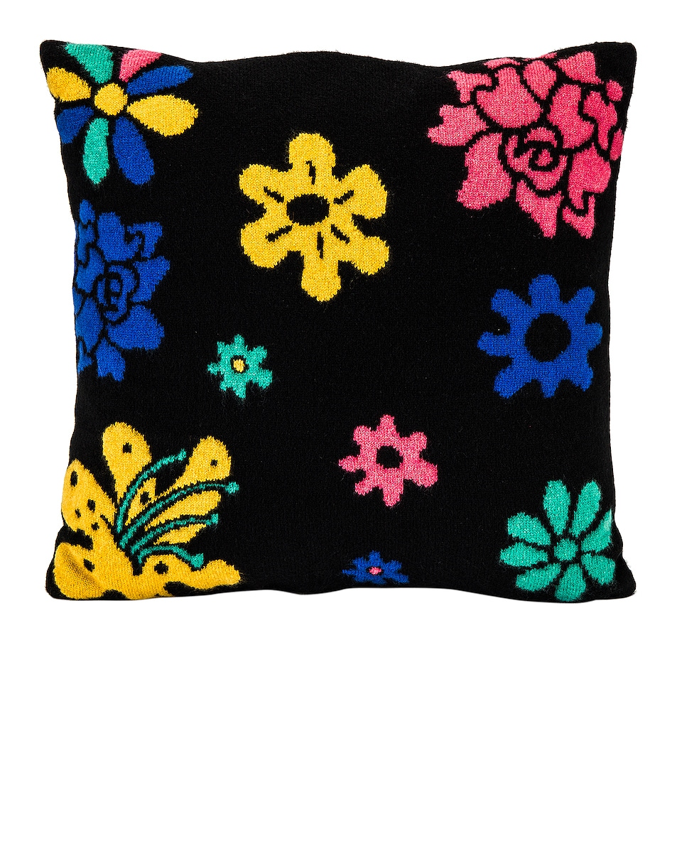 Image 1 of The Elder Statesman Cashmere Sound Flowers Pillow in Black, Yellow, Turquoise, True Blue & Hibiscus