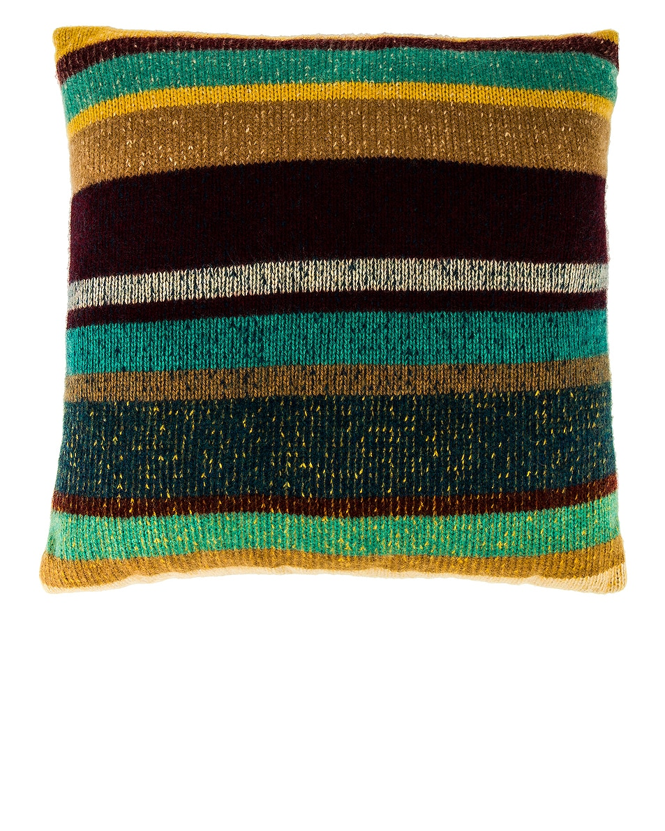 Image 1 of The Elder Statesman Cashmere Super Soft Pillow in Khaki, Yellow, Maroon, Turquoise, Peacock & Caramel